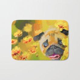 Pug in Daisies Bath Mat