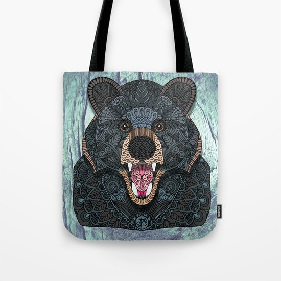 Ornate Black Bear Tote Bag