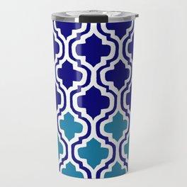Moroccan Blue tile pattern1 Travel Mug