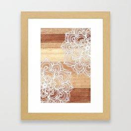 White doodles on blonde wood - neutral / nude colors Framed Art Print