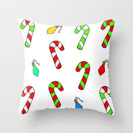 Christmas Lights and Candy Canes Throw Pillow