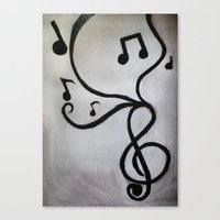 music notes Canvas Prints featuring Music Notes by S. Vaeth