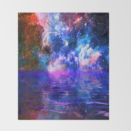 NEBULA COSMIC HORIZON OCEAN BLUE Throw Blanket