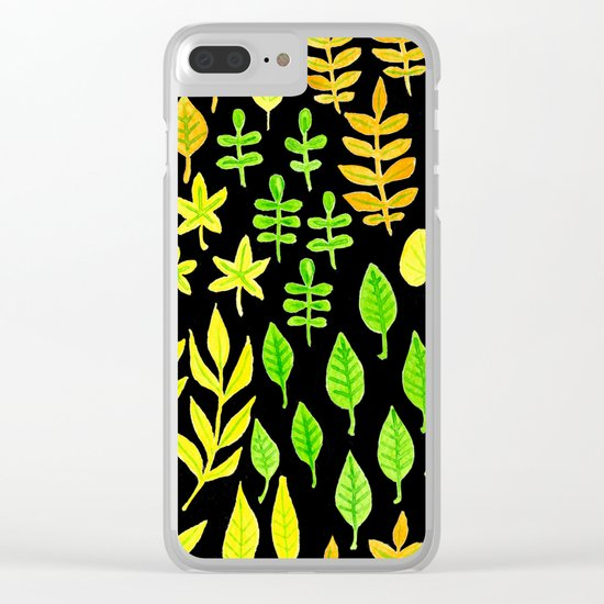 Watercolor doodle leaves pattern dark Clear iPhone Case