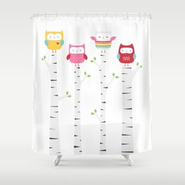 Treetop Owls Shower Curtain