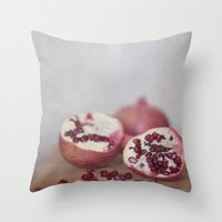 pomegranate Throw Pillows featuring Pomegranate by Kim Bajorek
