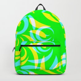 Pattern of yellow and blue doodles and curls in floral ornament in ethnic style on a green backgroun Backpack