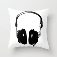 headphones Throw Pillows featuring HEADPHONES by by INK! - Sandie Dolleris Thomsen