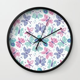 pink, teal and blue butterflies Wall Clock