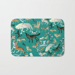 Wolves pattern in blue Bath Mat
