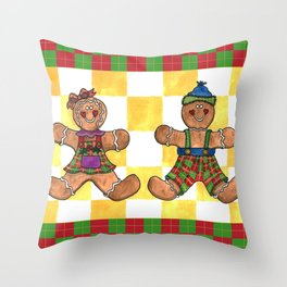 Gingerbread Twins Throw Pillow