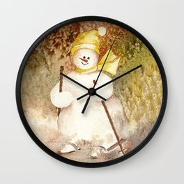 Snow Girl hits the slopes Wall Clock