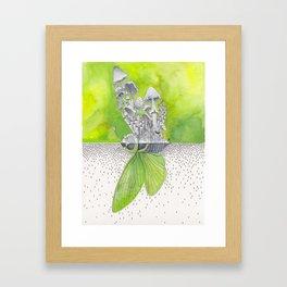 Green Cicada / Mushroom Watercolor Painting Framed Art Print