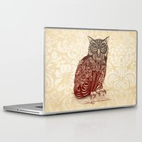 ornate Laptop & iPad Skins featuring Most Ornate Owl by Rachel Caldwell