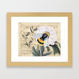 Save The Bees Collage Framed Art Print