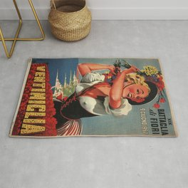 Vintage 1930's Ventimiclia, Italy Travel Lithographic Poster Advertisement Rug