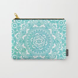 Sea Green Ombre, Indian Mandala Pattern Carry-All Pouch
