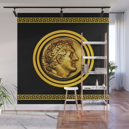 Greek Key and Coin - Black Wall Mural