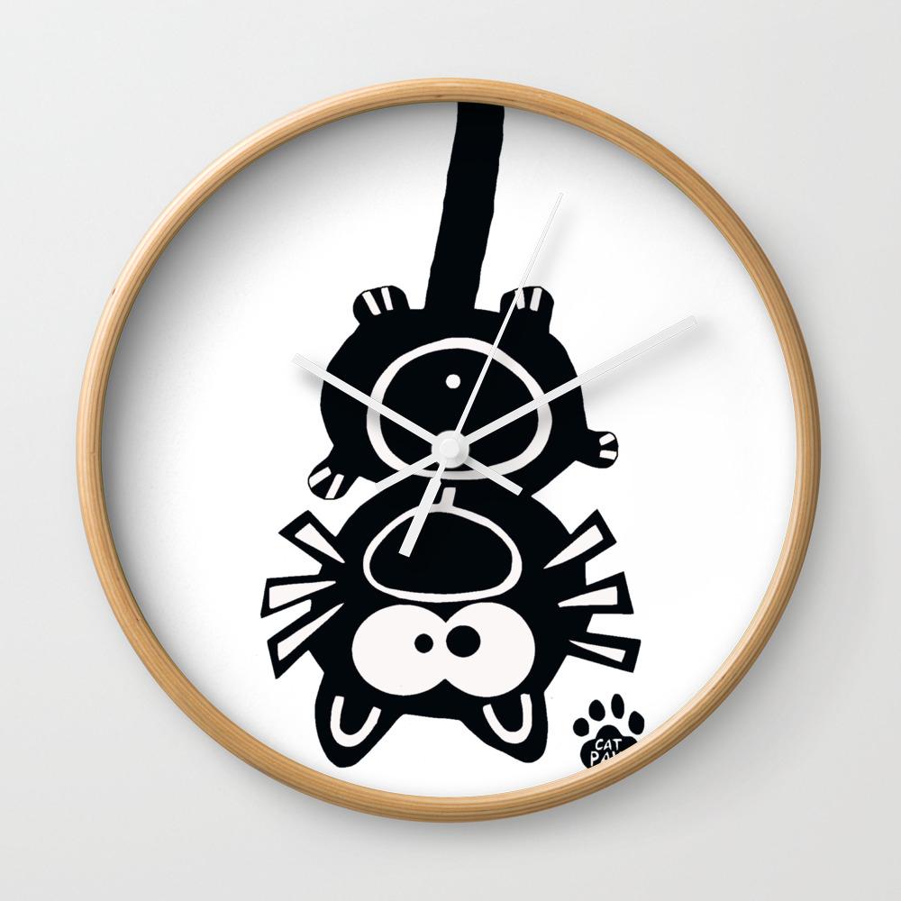 Yoga Pants Hipster Meditation Cool Tee Shirt T Cat Wall Clock by Designbyre CLK8703266