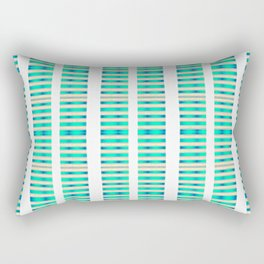 Aqua White Gold Stripes Rectangular Pillow