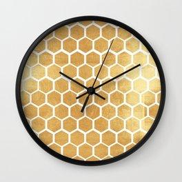 Gold honey bee Wall Clock