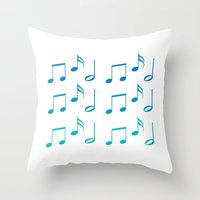 music notes Throw Pillows featuring Music Notes by magnez2