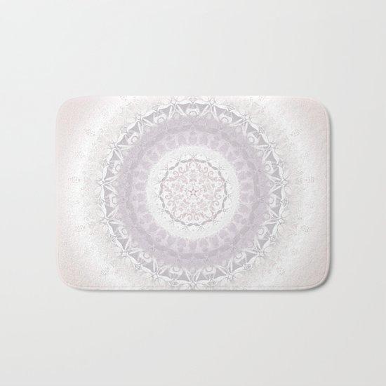Floral Damask Mandala Blush White Bath Mat