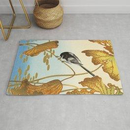 Bird sitting on a lotus plant - Vintage Japanese Woodblock Print Art Rug