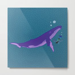 Electric Whales in a Polka Dot Sea Metal Print