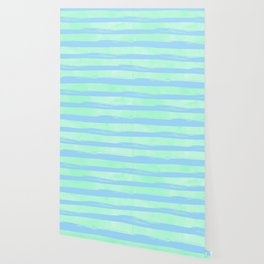 Trendy Stripes Blue Raspberry + Mint Meringue Wallpaper