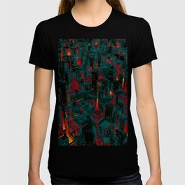 Night city glow cartoon T-shirt