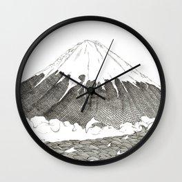Mt Fuji and Delphines Wall Clock
