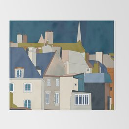 france houses abstract art Throw Blanket