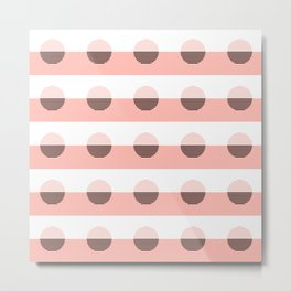 Horizons Geometric Sun Shine Stripe Design 7 - Peach Pink Metal Print