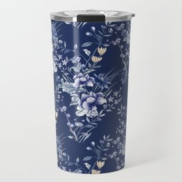 Chinoiserie Flowers Blue on Blue Travel Mug