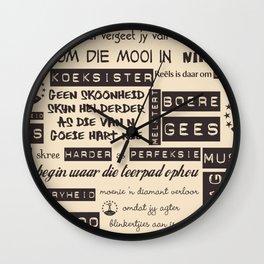 Afrikaans Cream Wall Clock