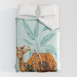 Camel Ride Animals Illustration, Wildlife Desert Painting, Quirky Eclectic Graphic Comforters