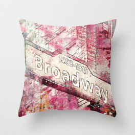 Broadway sign New York City Throw Pillow