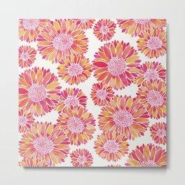 Sunflower Blooms – Pink Metal Print