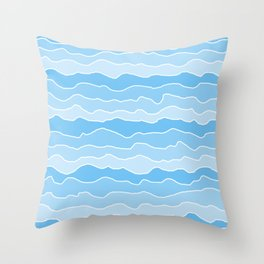 Four Shades of Turquoise with White Squiggly Lines Throw Pillow