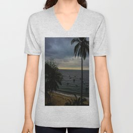 Dreamy Mexican Beach Sunset Unisex V-Neck