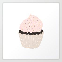 Pink Chocolate Cupcake Art Print