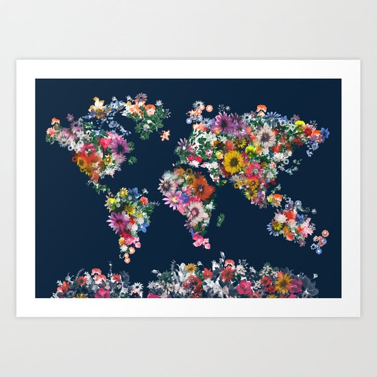 world map floral Art Print