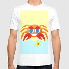 Crabby On The Beach White Mens Fitted Tee MEDIUM