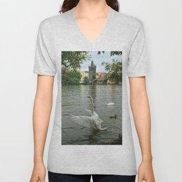 The swan dance on the Vltava river Unisex V-Neck