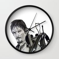 daryl dixon Wall Clocks featuring Daryl Dixon by Brittany Ketcham