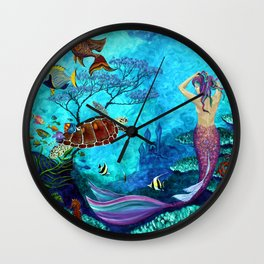 A Fish of a Different Color - Mermaid and seaturtle Wall Clock