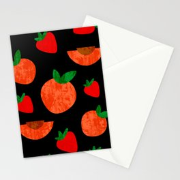 Tropical exotic peach slices and sweet red strawberries summer fruity bright sunny pastel white distressed cute black pattern design. Stationery Cards