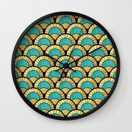 Duck Egg Green Art Deco Fan Pattern Wall Clock