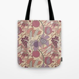 Seven Species Botanical Fruit and Grain in Mauve Tones Tote Bag